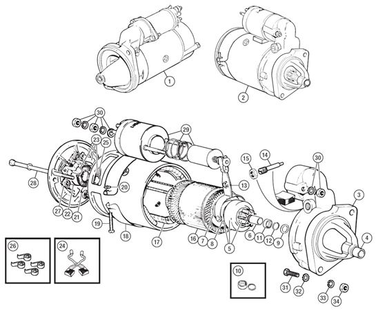 Triumph TR6 Starter Motor and Components to CP53636/CC63895