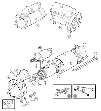 Triumph TR6 Starter Motor and Components from CP53637/CC63895