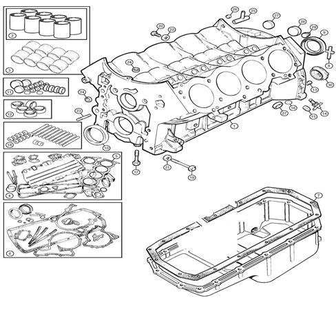 Rover V8 Cylinder Block Components