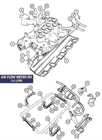 Rover V8 Inlet Manifold Fittings - Air Flow Meter EFi 3.5 Litre