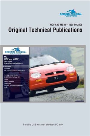 Portable USB - Original Technical Publications MGF and MG TF 1995 to 2005