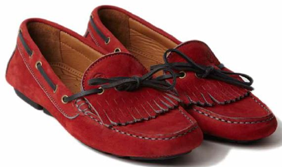 Ladies Moccasin - Rosa Red Calf Suede - Jaguar Collection