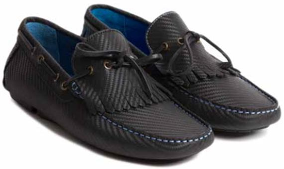 Mens Moccasin - Hawthorne Black Carbon Fibre Leather - Jaguar Collection
