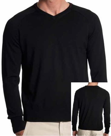 Mens Italian Merino Wool Sweatshirt - Black - Jaguar Collection