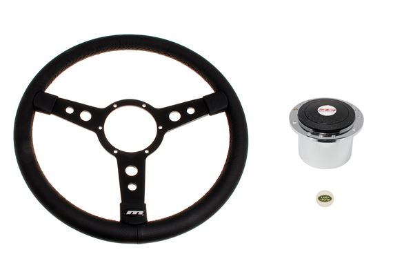 Leather 15 Inch Steering Wheel With Black Centre - Polished Boss & Land Rover Badge - LL1121BTO91A - Mountney