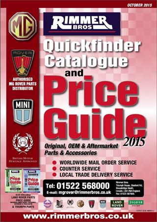Rimmer Bros MG Rover Parts and Accessories Quickfinder Catalogue and Price Guide - October 2015