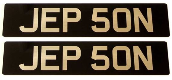 Vehicle Number Plate - Black/Silver Acrylic Ribbed Numbers - Pair
