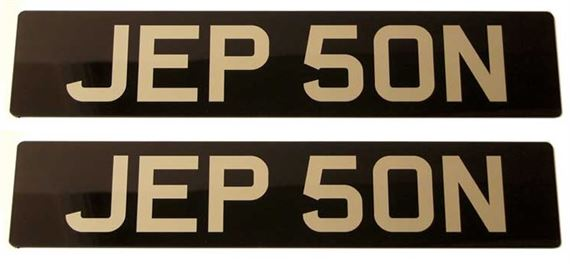 Vehicle Number Plate - Black/Silver Acrylic Standard Numbers - Pair