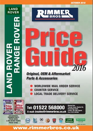 Rimmer Bros Price Guide Land Rover and V8 Engine October 2016 - PRICEGUIDE LR