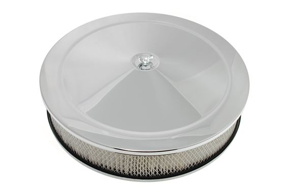14 inch Pancake Air Filter Assembly Chrome - 3 inch Deep - RB7438