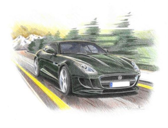 Jaguar F Type S Coupe Personalised Portrait in Colour - RJ1062COL