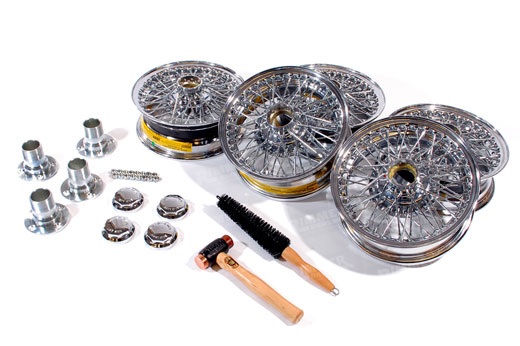 MWS Centre Lock Wire Wheels - Chrome Conversion Kit - 4.5 x 13 with Octagonal Centres - RL122145JEC