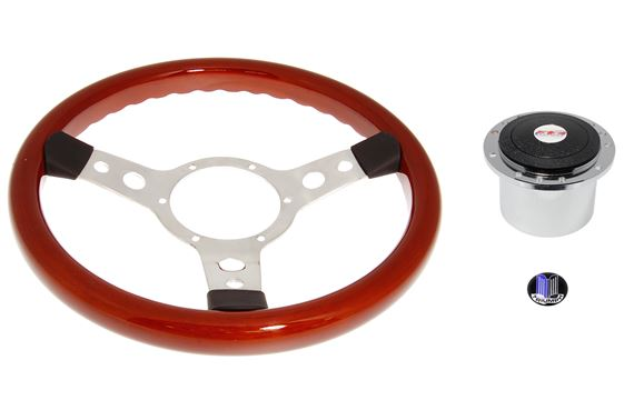 Wood Rim 13 inch Steering Wheel Polished Spokes - Chrome Boss - RL1466A - Mountney