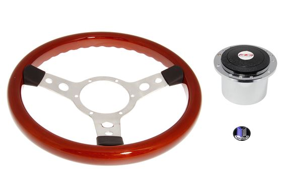 Wood Rim 13 inch Steering Wheel Polished Spokes - Chrome Boss - RL1467A - Mountney