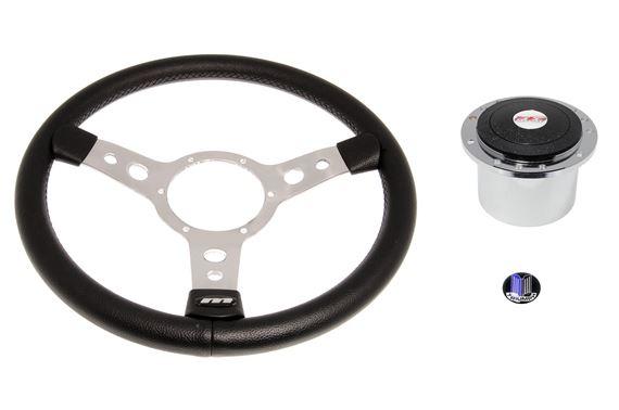 """Classic Car 14/"""" Retro Black 3 Spoke Black Vinyl Steering Wheel Boss Fitting Kit"""