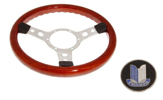 Mountney Traditional Woodrim 13 Inch Steering Wheel With Polished Centre 353Spw, Alloy Boss Boss34A, Badge - RM8258A