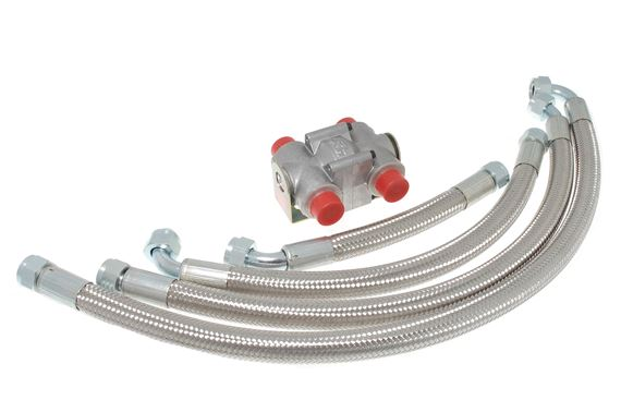 Oil Thermostat & Oil Pipe Kit - 4 Cylinder with Braided Hoses - RP1408BRAIDED