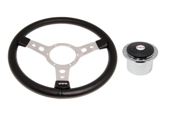 Vinyl 14 Inch Steering Wheel With Polished Centre - Polished Boss- RP1511A - Mountney