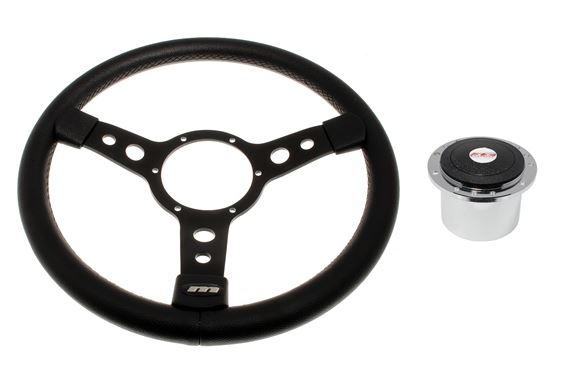 Vinyl 14 Inch Steering Wheel With Black Centre - Polished Boss - RP1519A - Mountney