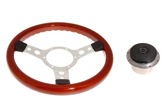Mountney Traditional Woodrim 13.5 Inch Steering Wheel With Polished Centre 353Spw, Boss Sb015A - RP1520A