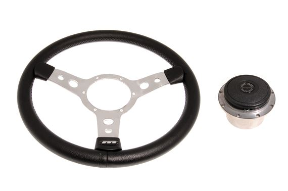 Vinyl 14 Inch Steering Wheel With Polished Centre - Polished Boss - RP1521A - Mountney