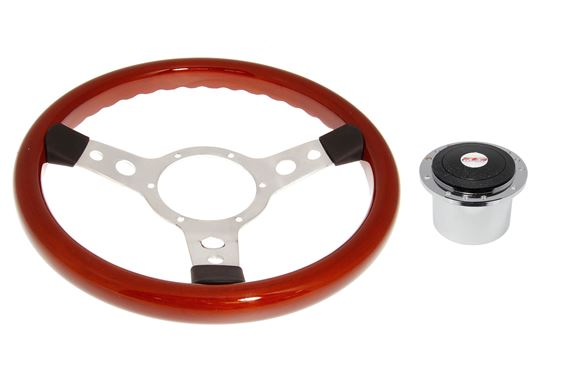 Wood Rim 13 Inch Steering Wheel with Polished Centre - Polished Boss - RP1523A - Mountney