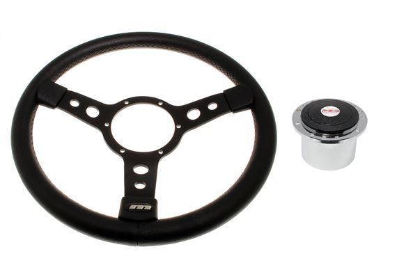 Vinyl 14 Inch Steering Wheel with Black Centre - Polished Boss - RP1525A - Mountney