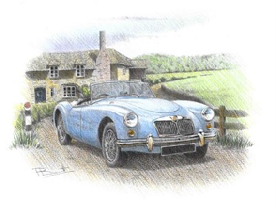 MGA Roadster Personalised Portrait in Colour - RP1622COL