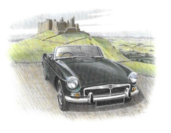 MGB Roadster with Honeycombe Grille Personalised Portrait in Colour - RP1624COL