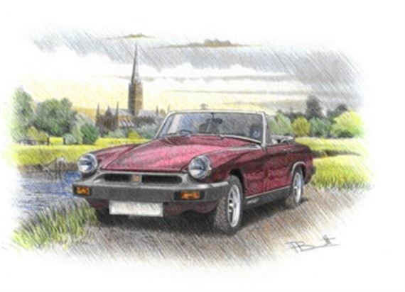 MG Midget Rubber Bumper Personalised Portrait in Colour - RP1625COL