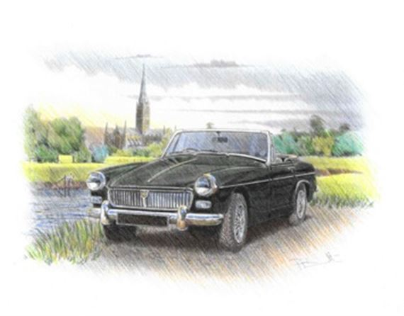 MG Midget Chrome Bumper Personalised Portrait in Colour - RP1626COL