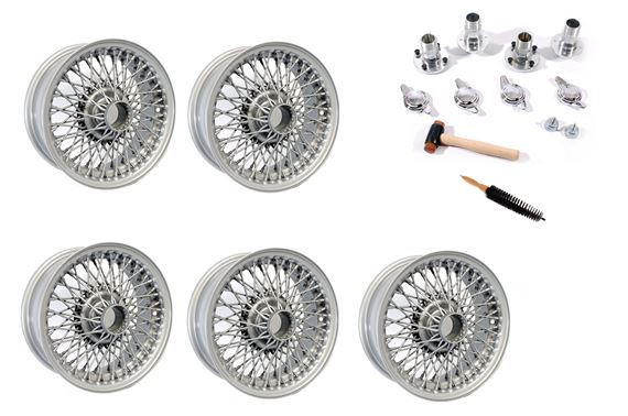 Wire Wheel Conversion Kit - Banjo Axle with 2 Ear Spinners - 5.5J x 14 inch - Painted Silver - RP1736P