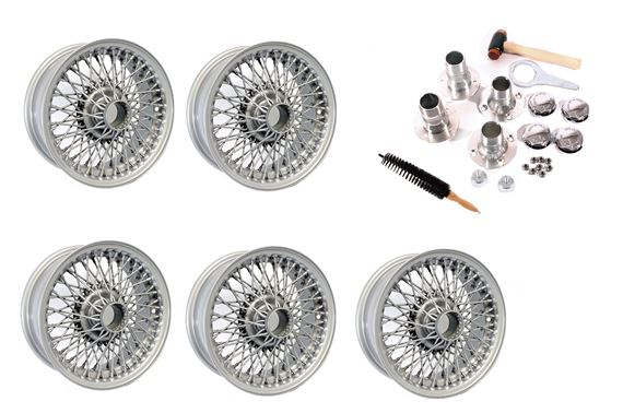 Wire Wheel Conversion Kit - Banjo Axle with Octagonal Nuts - 5.5J x 14 inch - Painted Silver - RP1740P