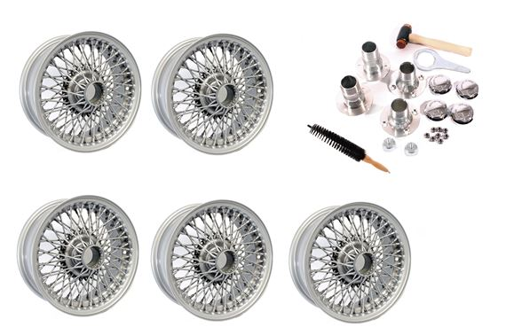 Wire Wheel Conversion Kit - Tube Axle with Octagonal Nuts - 5.5J x 14 inch - Painted Silver - RP1742P