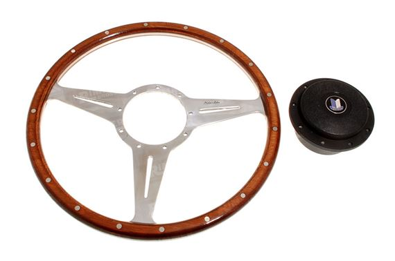 Moto-Lita Steering Wheel & Boss - 14 inch Wood - Slotted Spokes - Flat - RS1538FS