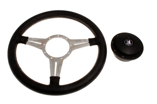 Moto-Lita Steering Wheel and Boss - 14 inch Leather - Slotted Spokes - Flat - RS1539FS