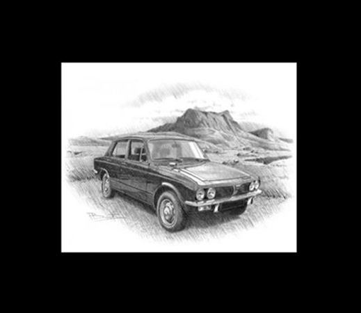 Triumph Dolomite 1500 - 1970 Personalised Portrait in Black & White - RT1300BW