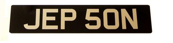 Vehicle Number Plate - Black/Silver Acrylic Ribbed Numbers - Single