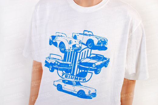 T Shirt - White with Blue Triumph Shield