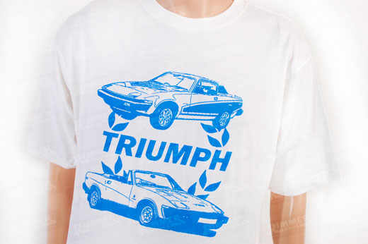 T Shirt - White with Blue Triumph Laurel