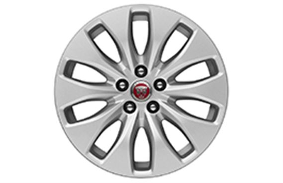 XF Alloy Wheel - 17 Inch Aerodynamic - 10 Spoke with Silver Finish - T2H2203 - Genuine Jaguar