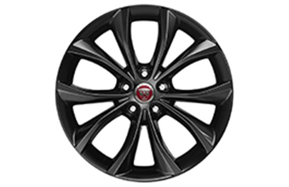 XF Alloy Wheel - 18 Inch Helix - 10 Spoke with Gloss Black Finish - T2H6443 - Genuine Jaguar