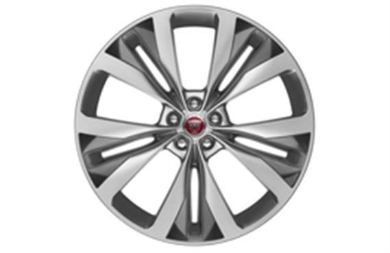 F-Pace Alloy Wheel - 22 Inch Double Helix - 15 Spoke - with Silver Finish and Dark Inserts - T4A3796 - Genuine Jaguar