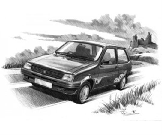 MG Metro (Dark Shading) Personalised Portrait in Black & White - RP1631BW
