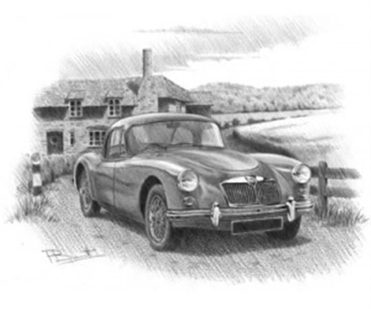 MGA Coupe Personalised Portrait in Black & White - RP1621BW