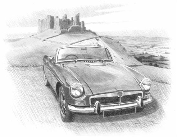 MGB Roadster with Honeycombe Grille Personalised Portrait in Black & White - RP1624BW