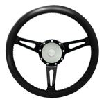 Steering Wheel with 36 Spline Williams Black Leather Silver Boss - EXT90060 - Exmoor
