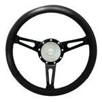 Steering Wheel with 48 Spline Williams Black Leather Silver Boss - EXT90062 - Exmoor