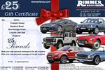 Rimmer Bros £25.00 Gift Certificate - GIFT CERTIFICATE 25