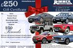 Rimmer Bros £250.00 Gift Certificate - GIFT CERTIFICATE 250